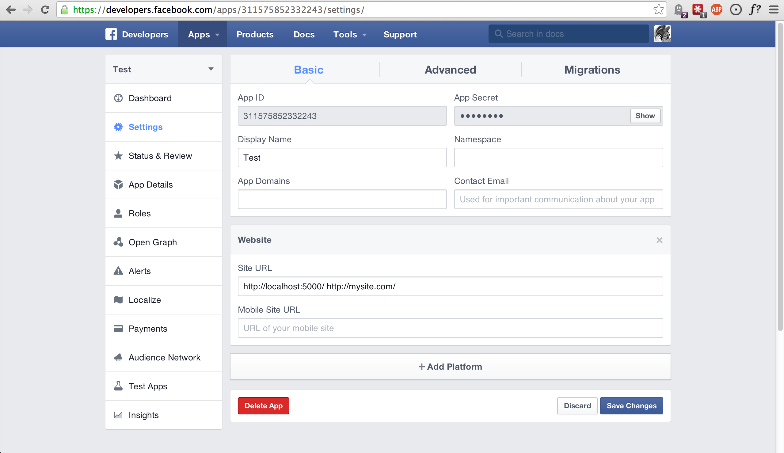 how to change facebook url on app